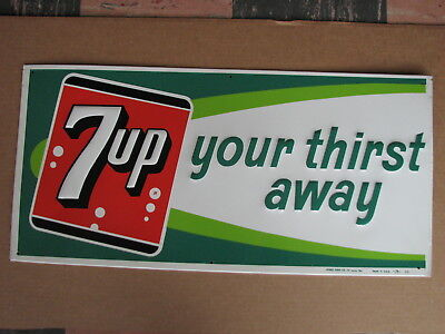 Vintage 7 Up Sign; Perfect Condition New Old Stock 11 1/4 x 23 1/4 # 32