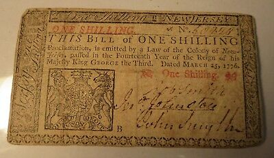 New Jersey One 1 Shilling US Colonial Currency Note NJ-175 March 25 1776 Rare
