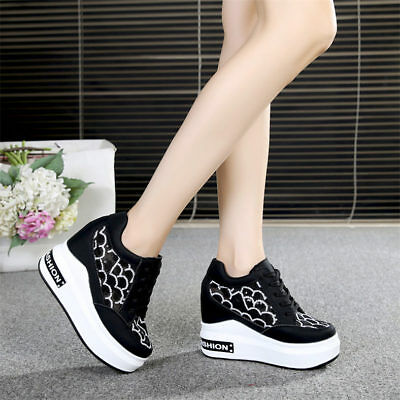 21848f23aa57 WOMEN PLATFORM WEDGE High Heel Fashion Sneakers Lace Up Ankle Boots Creepers  New -  35.99