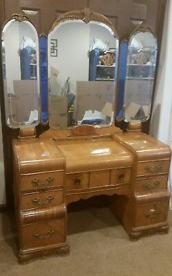 Art deco waterfall vanity dressing table dresser as is blue mirror maquetry