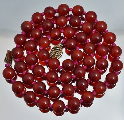"""Chinese Export Sterling 10mm Carnelian Bead Necklace 25"""""""