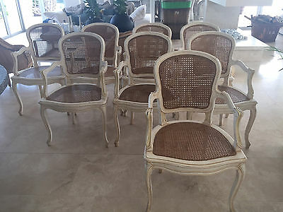 8 x COUNTRY TRADER STUNNING RATTAN & WOOD LOUIS XVI DINING CHAIRS 2 $5200