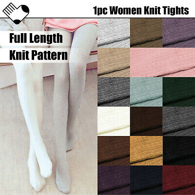 1pc Women Girls Tights Pantyhose Stockings Full-length Rib Knit Warm Thick