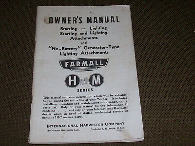 1944 Starting & Lighting Attachments Owner's Manual for Farmall M & H Tractors