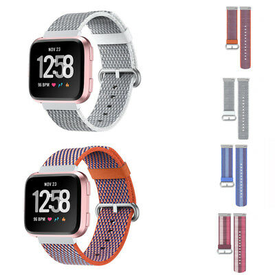 For Fitbit Versa Breathable Fabric Sport Watch Band Strap Wristband Nylon Loop