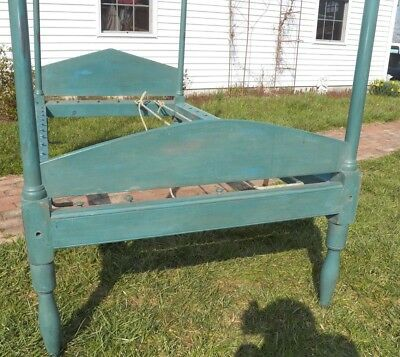 19th Century Tall Post Old Blue Paint Rope Bed Primitive high poster