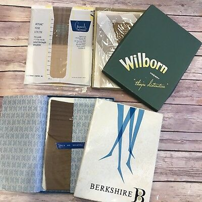 Vtg Lot 4 Seamless + Seam Stockings Nylon 9.5 M Medium Wilborn Berkshire Gaymode