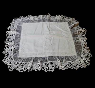 Vintage NEW white cotton lace embroidered cushion cover Adorabella Katie Connors