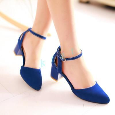 Fashion Womens Ankle Strap Chunky Block High Heel Buckle Pointed Toe Shoes