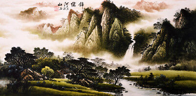 Mountains&Waterfall-HANDPAINTED ORIGINAL ART CHINESE SANSUI WATERCOLOR PAINTING