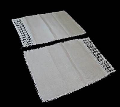 Vintage pair of beige linen placemats with gorgeous crochet lace edging