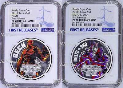 2-coin-set 2018 Ready Player One Aech Daito & Sho Proof SILVER $1 1oz NGC PF70