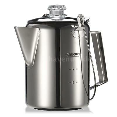 Outdoor Coffee Pot Tea Kettle 9 Cup Camping Percolator Coffee Maker UK C4V3