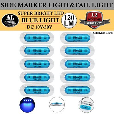 20x 4 LED Blue Side Marker Tail Light Clearance Lamp Car Truck Trailer Universal