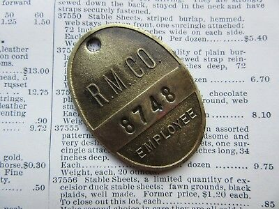 Antique Remote Mine Company Brass Metal Tag Vintage Mining Employee Badge Number