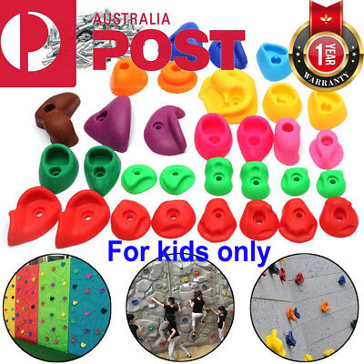 32Pcs Climbing Stone Rock Wall Hand Hold Climb Feet Plastic Indoor Sports Kids