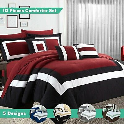 10PC Comforter Sheet Sets Bedspread Quilted Pillow Cases Cushions Queen King