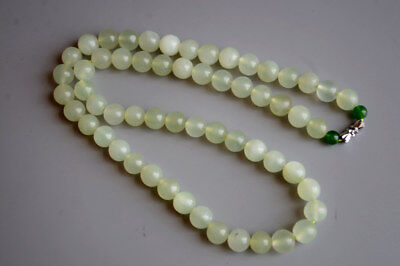 10mm Exquisite Chinese natural icy translucent jade hand-carved beads Necklace