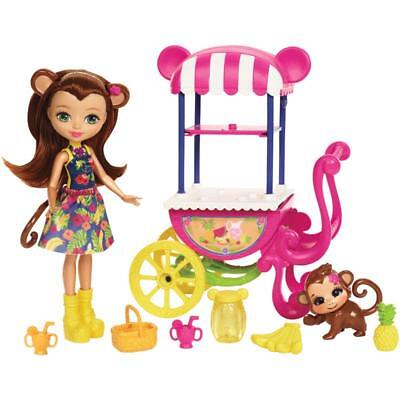 Enchantimals Food Stand with Monkey Doll and Pet