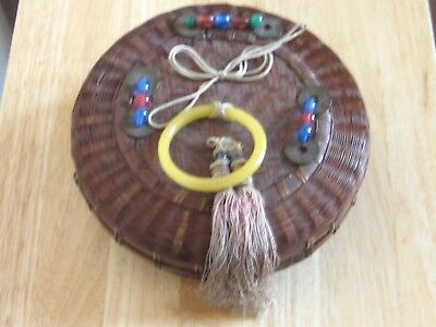Vintage Chinese Wicker Sewing Basket, Peking Glass Beads, w/ Wood Spool Thread