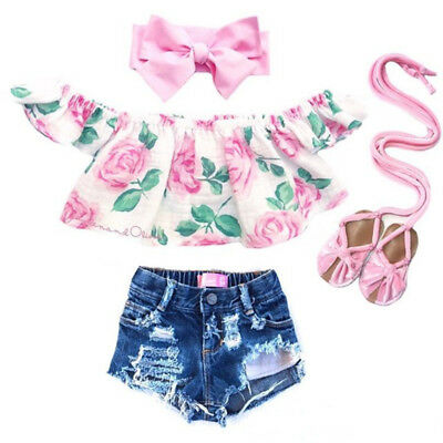 Newborn Kid Baby Girl Summer Flower Off Shoulder Top Denim Shorts Outfit Clothes