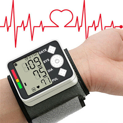 Lcd Digital Blood Pressure Test Automatic Monitor Machine Wrist Cuff Heart Beats