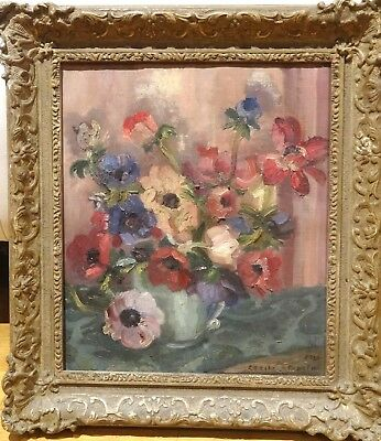 Fine Early 20th Century Impressionist Anemones Flowers Still Life Oil Painting