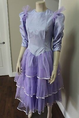Authentic Vintage 1980's Purple Prom Bridesmaid Dress Size Small