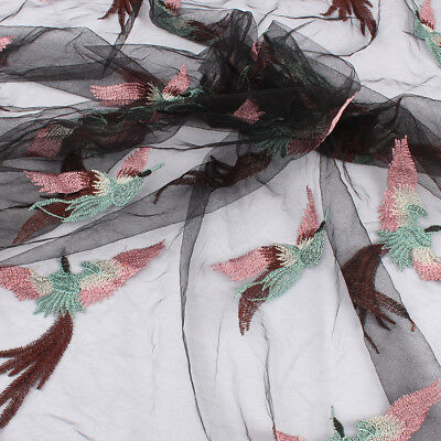 Net embroidery flying birds white black  french tulle lace fabric  by the yard