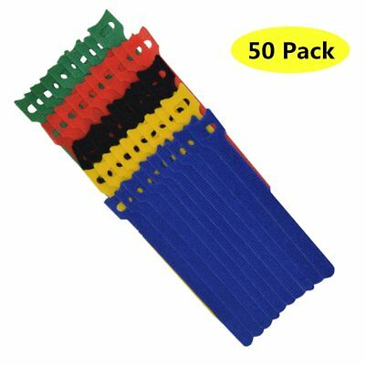 TANKING 50Pcs Reusable Hook and Loop Fastening Cable Ties with Microfiber
