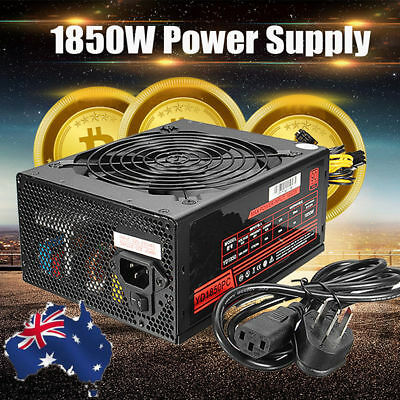 AU 1850W Mining 6 Pins Power Supply For Antminer S9/S7/A7/A6/L3/R4 Bitcoin Miner