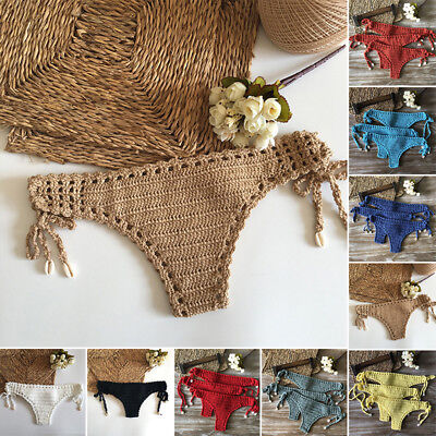 HOT Brazilian Womens Thong Lace-up Crotchet Bikini Bottom Swimwear Beachwear S-L