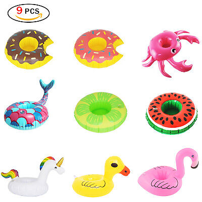 9pcs Inflatable Drink Holders Drink Floats Cup Coasters for Pool Party Bath Toys