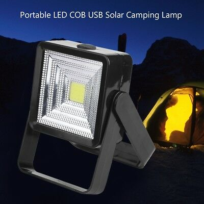 LED COB Solar Camping Lamp Rechargeable USB Charging Light for Outdoor Hiking SS