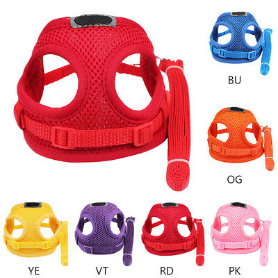 Adjustable Dog Puppy Pet Harness Mesh Fabric Vest Collar Lead Leash with Clip UK