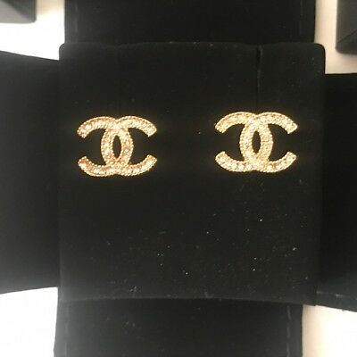 Authentic Chanel Gold Tone Metal Earrings Swarovski Crystals