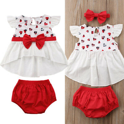 UK Baby Girl Cotton Heart Print Tops Dress+Shorts Summer Outfits 3PC Set Clothes