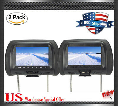 "Black  2x HDMI Car Video Headrest Pillow Monitor 7"" Active NO DVD MP5 Player New"