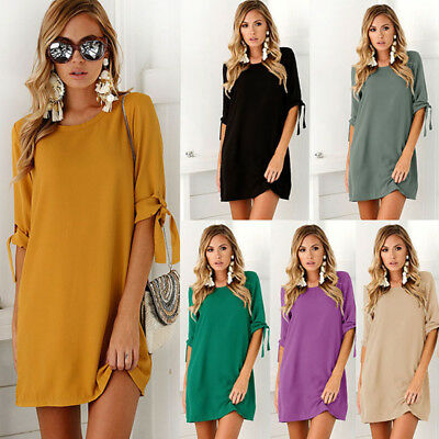 Sexy Womens Plus Size Long T-shirt Ladies Casual Party Mini Dress Blouse Tops D2