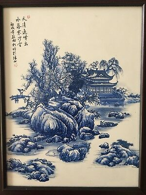 Chinese Porcelain Wall Plaque Winter Landscape Inscribed. 2 red seal marks