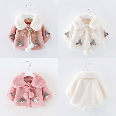 Toddler Baby Lovely Girl Newborn Fur Winter Warm Coat Cloak Jacket Thick Clothes