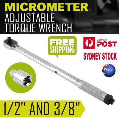 "AU Local Adjustable 1/2"" and 3/8"" Dual Drive Micrometer Torque Ratchet Wrench OZ"