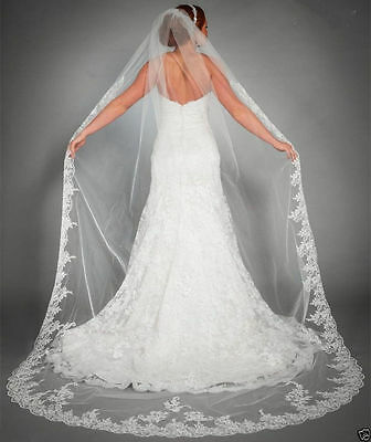 2018 New White/Ivory Cathedral Length Lace Edge Bride Wedding Bridal Veil + Comb