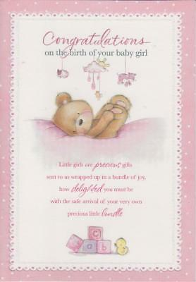congratulations on the birth of your baby girl embossed glittery greeting card