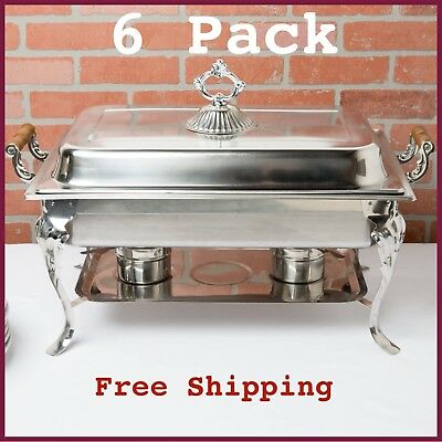 (6-Pack) Classic Rectangle 8 Qt. Full Size Stainless Steel Catering Chafer Dish