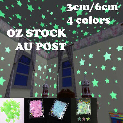 100PCS 3cm 6cm Luminous Star Wall Sticker Glow In The Dark Home Kid Décor Decal