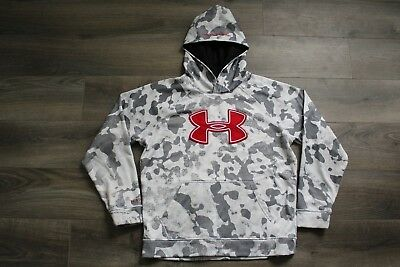 Boy's Large Under Armour Hoodie, Camo Camouflage, Gray White