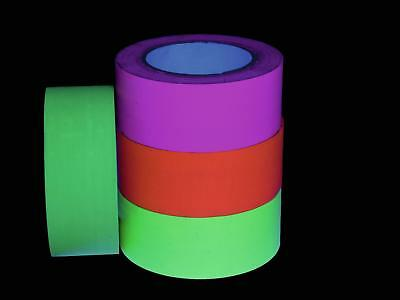 4er Set UV - Neon Gaffa Tape Gewebeband 50mm x 25m   Pink - Gelb - Orange - Grün