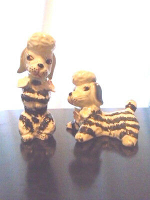 vintage POODLE DOGs salt/pepper shakers Black & White STRIPED ZEBRA  Japan