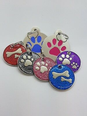 ENGRAVED Personalised Double PAW GLITTER / PAW TAG DOG CAT PET ID TAGS
